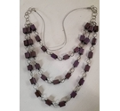 Mauve shimmery square wooden beads on silver metallic necklace