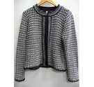 Pure Collection heavy crochet jacket Navy and white Size: 16