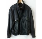 True Vintage Unbranded Blouson-Biker Hybrid Jacket in Black Leather Size: XL