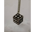 Black enamel die with diamante numbers on silver metallic chain necklace