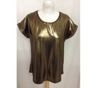 Peacock Sort Sleeved Top Gold Lame Size: 12