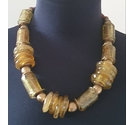 Bronze Chunky Necklace, Glass and Metal Beads