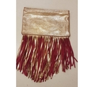 Maje Golden Fringed Leather Clutch Multicoloured Size: S