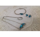 Silver metallic and turquoise sparkly stone necklace, bracelet and earring set
