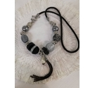 Necklace with silver, black and grey beads