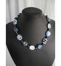 BNWT Hand Made Blue and White Ceramic Bead Necklace