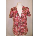 Jaeger Silk Patterned Blouse Red/Brown Mix Size: 14