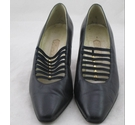 Vivaldi Vintage Leather Court Shoes Navy Size: 6.5