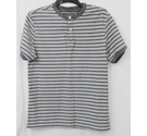 St George By Duffer striped cotton henley grey/navy Size: S