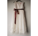 Beautiful ivory coloured layered bridesmaid dress, age 7-8 yrs, with contrast burgundy silk tie belt