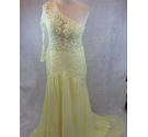 Yellow full length bridesmaid dress with lace bodice Size small