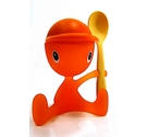 Alessi Orange Cico Egg Cup with spoon and salt shaker sitting character form