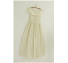 Vintage Circa 1950's Handmade Ivory Satin Boat Collar Bridal Dress Size: S