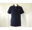 Crew Clothing polo neck top waffle knit cotton shirt navy blue Size: S