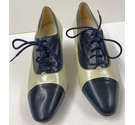 Rombah Wallace court shoes cream and blue Size: 5