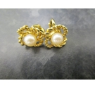 Metal Gold Colour Faux Pearl Clip on Earrings Vintage 1980's