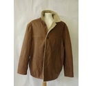 Vintage Trapper long leather sheepskin coat jacket designer tan brown Size: XL