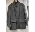 Hugo Boss Cashmere Wool Stripe Coat Grey Black Size: L