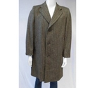 Genuine Crombie by Lambourne Herringbone Tweed Wool Coat Brown Size: L