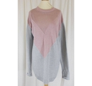 Pretty Little Thing Colourblock Open Weave Jumper Pink and Grey Size: 10