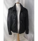 Superdry Leather Zip Up Jacket Black Size: XL