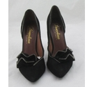 Diavolina by Robert Robert Suede Zip Trim Courts Black Size: 5