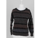 Escada Mohair Tinsel Striped Jumper Taupe & Pewter Size: M