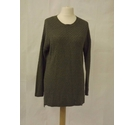 Fat Face waffle honeycomb knit oversize jumper sweater slouch khaki green Size: 14