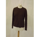Vintage pringle cashmere wool jumper sweater thin knit crew chocolate brown Size: 12