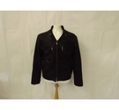 Feraud soft suede bomber smart leather jacket designer biker dark brown Size: M