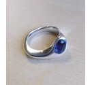 925 Silver Asymmetric Ring with Purple Stone