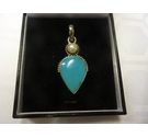 Vintage Silver Pendant with pearl and turquoise (hallmarked 925)