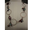 Vintage Look Metal Glass Necklace 22""