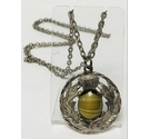 Vintage Thistle Necklace with Green Banded Stone