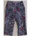 Betty Barclay size 10 3/4 length navy trousers with white and red floral design