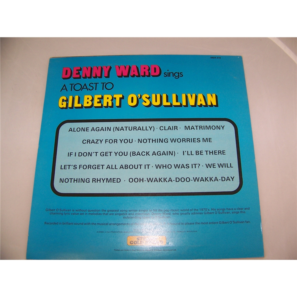 Denny Ward sings A Toast to Gilbert O'Sulivan - mer 374 | Oxfam GB |  Oxfam's Online Shop