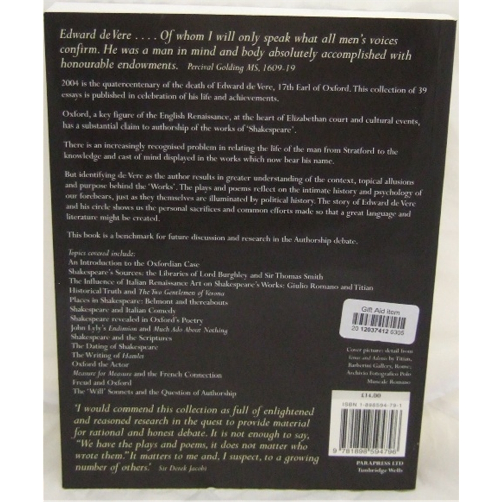 Great Oxford: Essays on the Life and Work of Edward De Vere 17th Earl  Oxford, 1550-1604   Oxfam GB   Oxfam's Online Shop