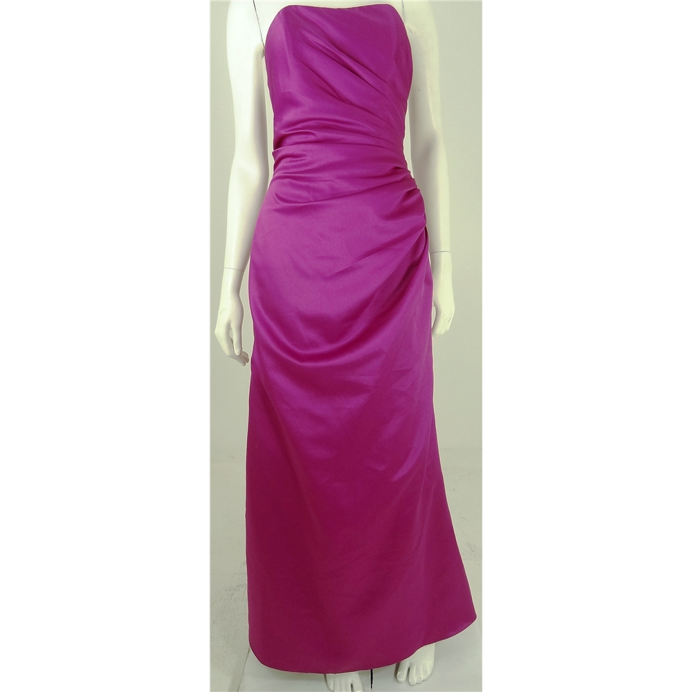 Oxfam Online Hub Batley Emily Fox Size 12 Pink Long Strapless Dress Featuring Boned Bodice Asymettrical Ruched Detail Into The Side Seam