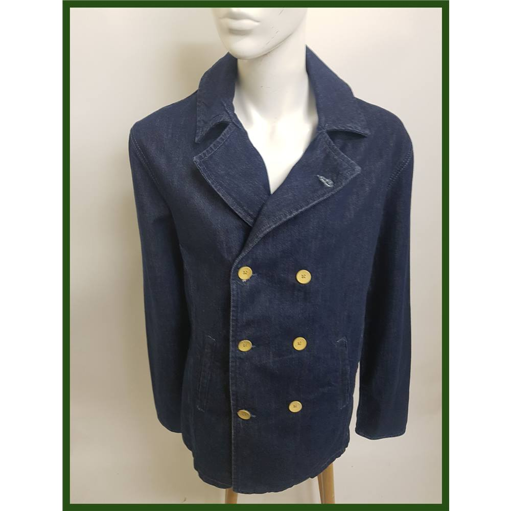 e3f4a10d New with tags - Reiss - Size: L - Blue - Double Breasted Denim Jacket.  Loading zoom