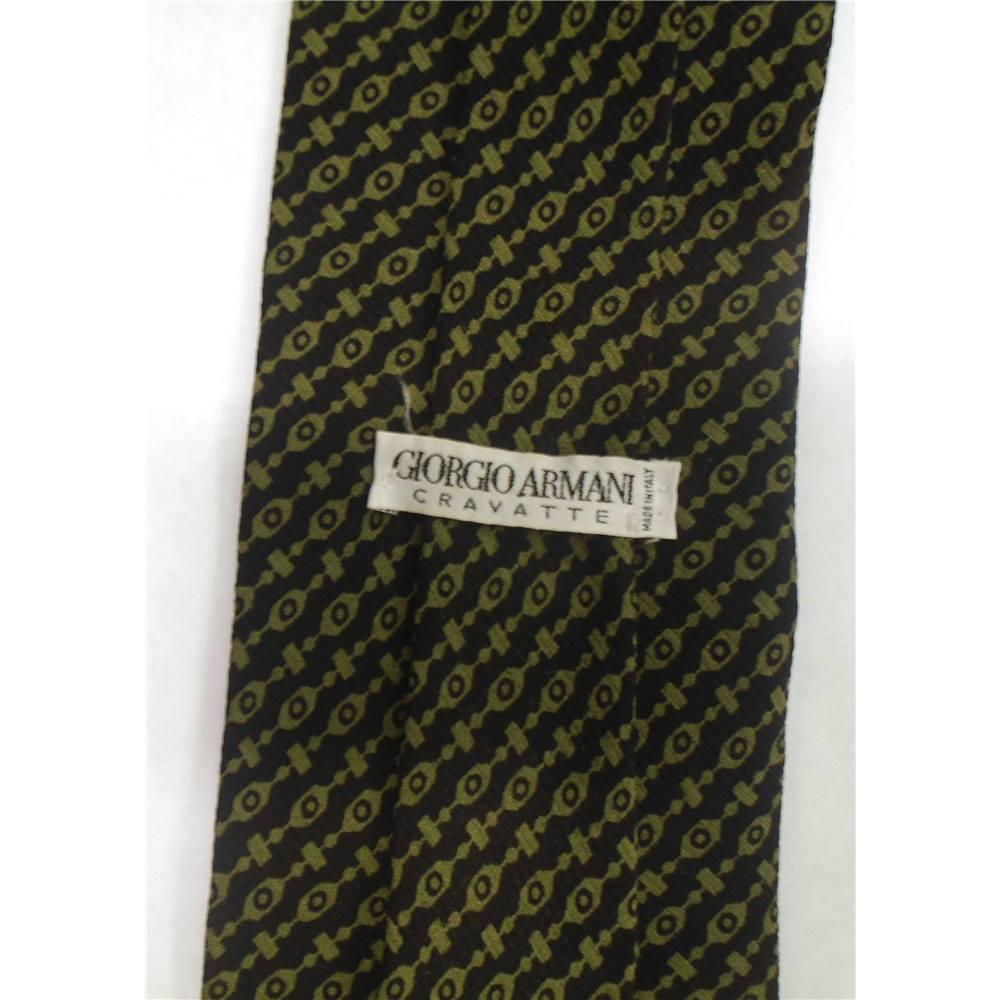5dce87545b0 Giorgio Armani Cravatte Black and Green Silk Tie