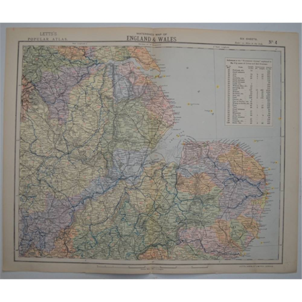 Map Of England Zoom.Letts S Map 1881 Watershed Map Of England Wales Humberside East Midlands East Anglia Oxfam Gb Oxfam S Online Shop