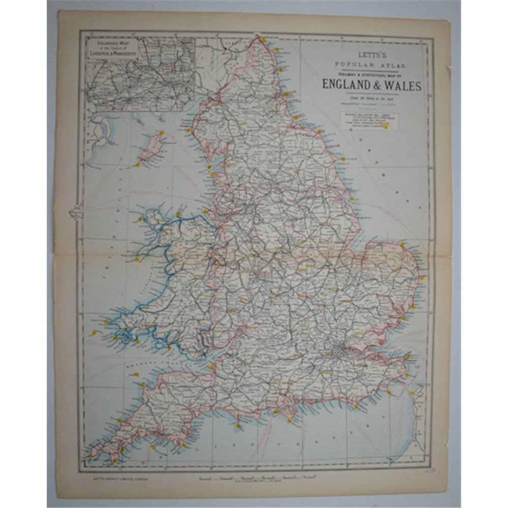 Map Of England Zoom.Letts S Map 1881 Railway Statistical Map Of England Wales Oxfam Gb Oxfam S Online Shop