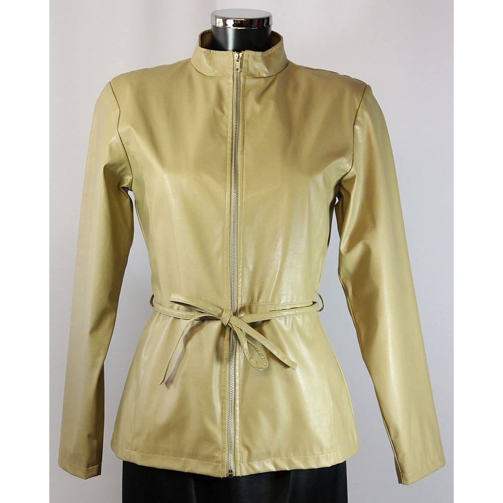 Ozone faux leather jacket pale camel size 12 ozone for Define faux leather