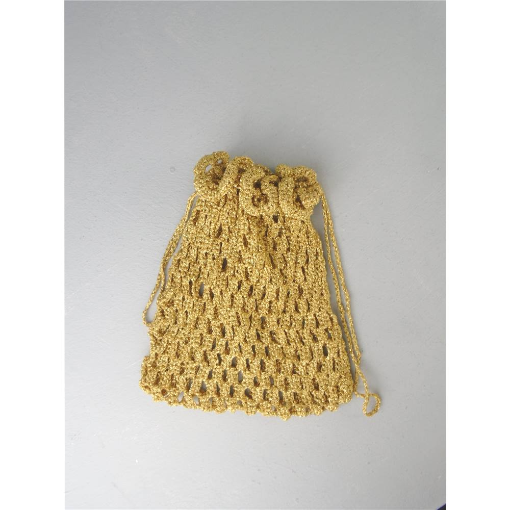 Gold Crochet Draw String Bag Oxfam Gb Oxfams Online Shop