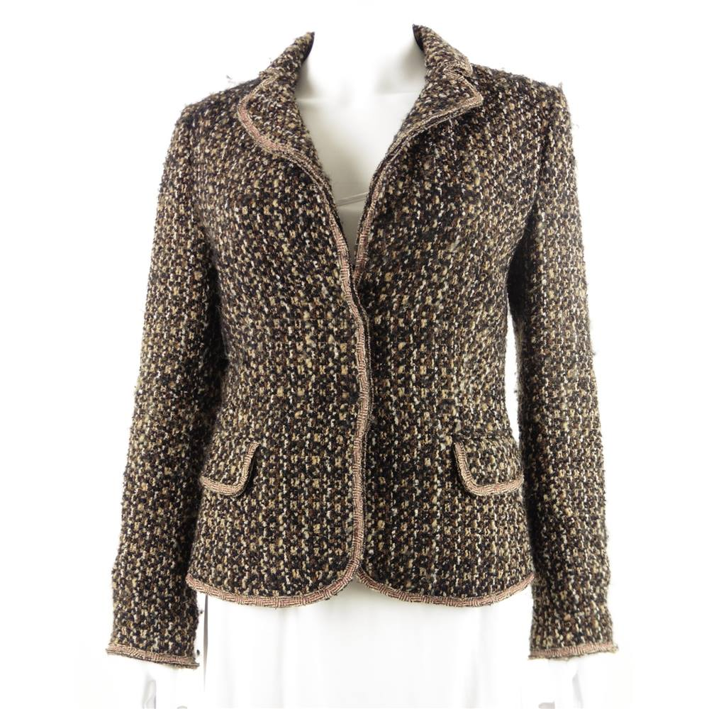 Moschino Cheap And Chic Size 10 Brown Textured Jacket  eaaae285249