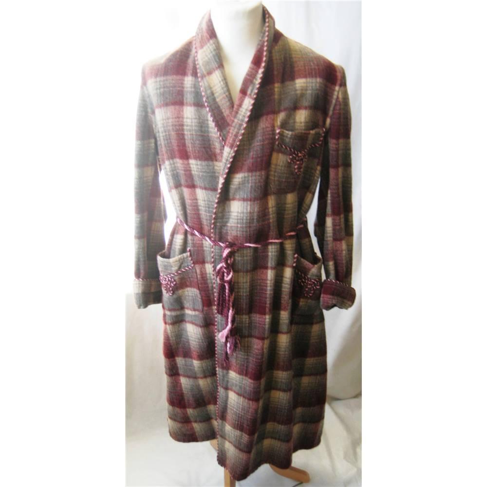 Vintage original 1940s/50s wool plaid dressing gown size M Unbranded ...
