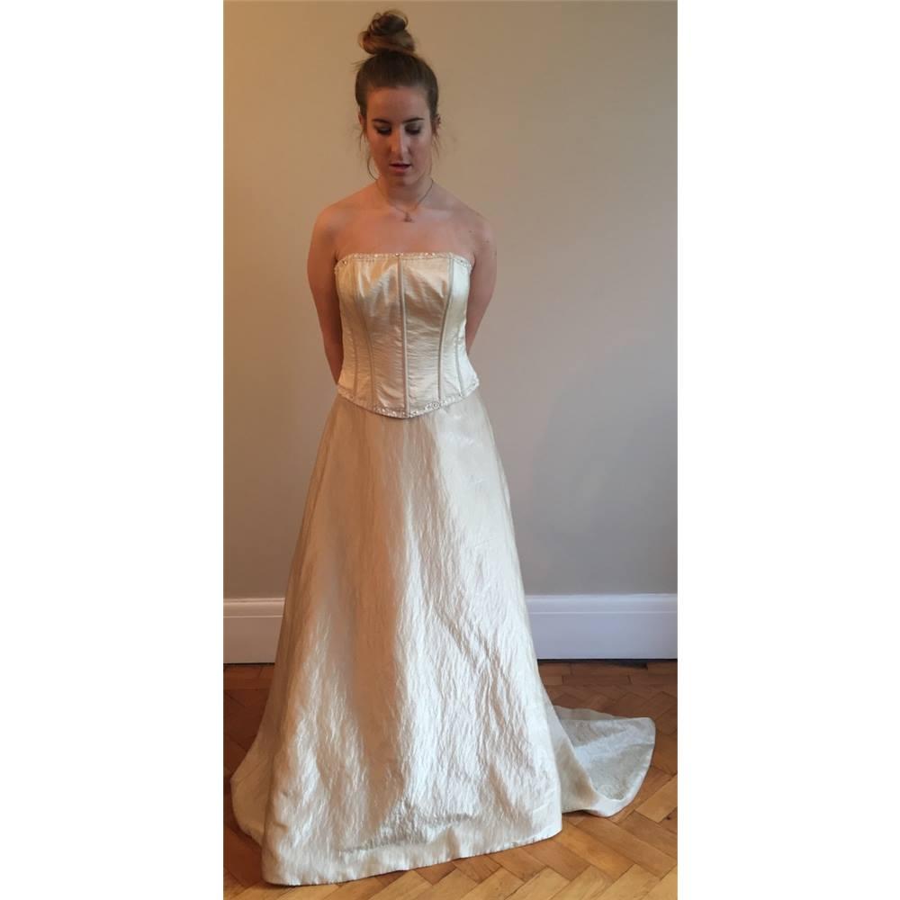 Amanda Wyatt Size 12 Light Gold Strapless Wedding Dress Oxfam