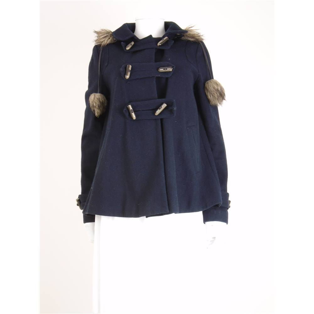 Topshop Size: 10 Navy Blue Wool Blend Duffle Coat With Faux Fur ...