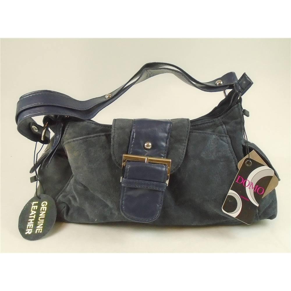 Bnwt Domo Size S Indigo Blue Suede Leather Handbag Loading Zoom