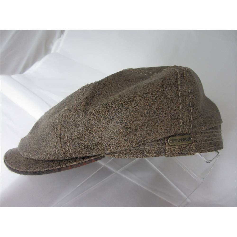 80eb03f7cc5 Stetson Burney Hatteras Leather Bakerboy Hat   Cap Brown - Peaked ...